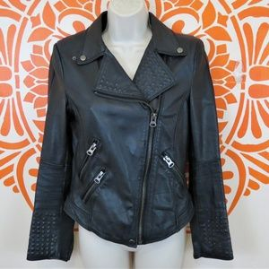 Zara Basic Black Vegan Leather Moto Jacket M